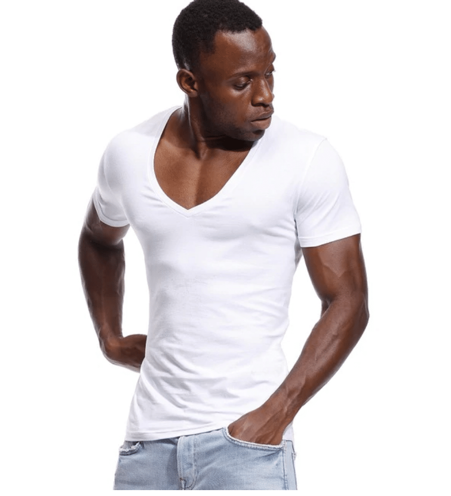 mens deep v neck t shirts